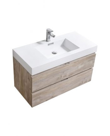 "Bliss 40"" Nature Wood Wall Mount Modern Bathroom Vanity"