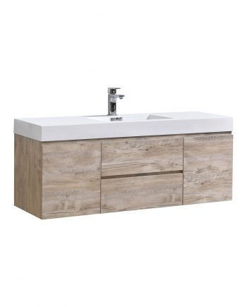 "Bliss 60"" Nature Wood Wall Mount Single Sink Modern Bathroom Vanity"