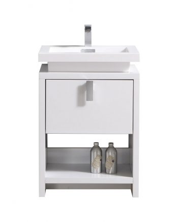 "Levi 24"" High Gloss White Modern Bathroom Vanity w/ Cubby Hole"