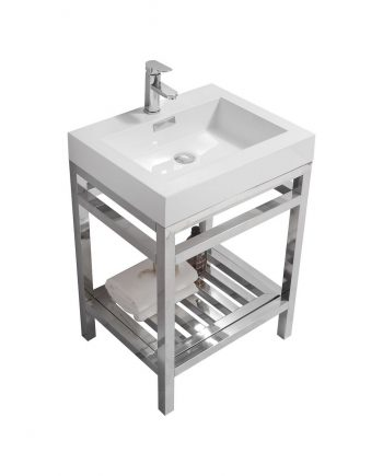 "CISCO 24"" STAINLESS STEEL CONSOLE W/ WHITE ACRYLIC SINK - CHROME"