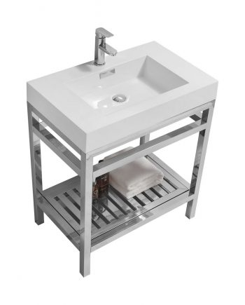 CISCO 30″ STAINLESS STEEL CONSOLE W/ WHITE ACRYLIC SINK – CHROME