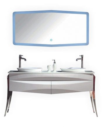 "KUBE RISO 64"" MODERN DOUBLE SINK BATHROOM VANITY - WHITE"