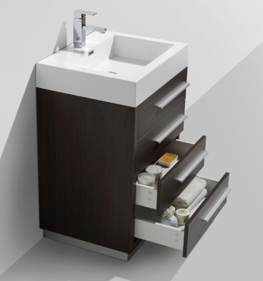 Tona 24 gray oak vanity w four drawers for 24 bathroom vanity with drawers