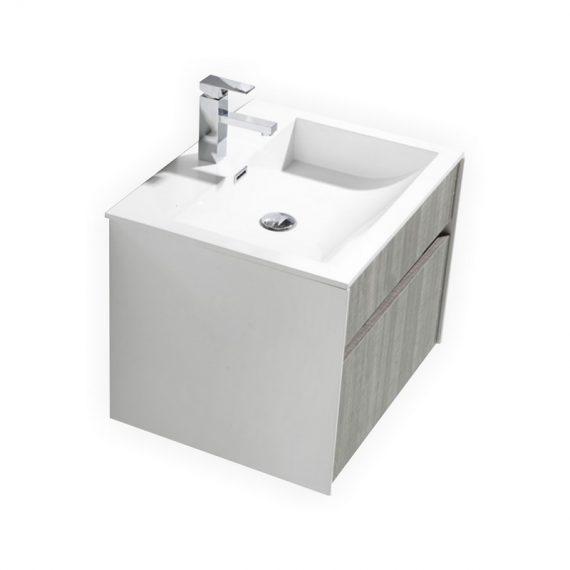 "Fitto 24"" Hash Gray Wall Mount Modern Bathroom Vanity"