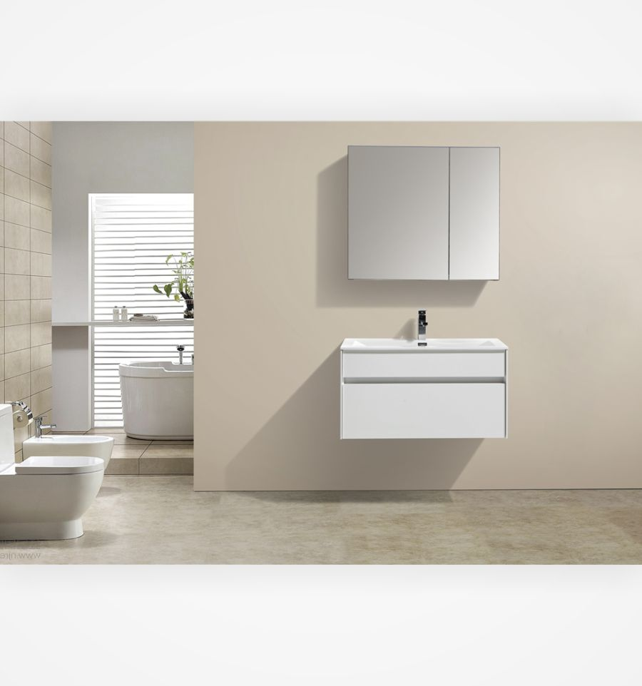 "fitto 32"" high gloss white wall mount modern bathroom vanity"