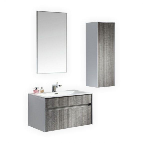 "Fitto 32"" Hash Gray Wall Mount Modern Bathroom Vanity"