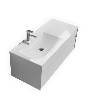 "Fitto 48"" High Gloss White Wall Mount Modern Bathroom Vanity"