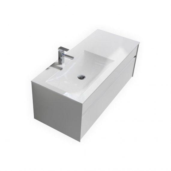 "Fitto 48"" High Gloss White Wall Mount Modern Bathroom Vanity"