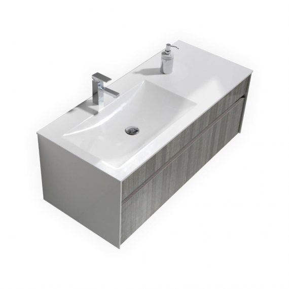 FITTO 48″ ASH GRAY WALL MOUNT MODERN BATHROOM VANITY