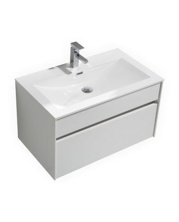 FITTO 32″ HIGH GLOSS WHITE WALL MOUNT MODERN BATHROOM VANITY