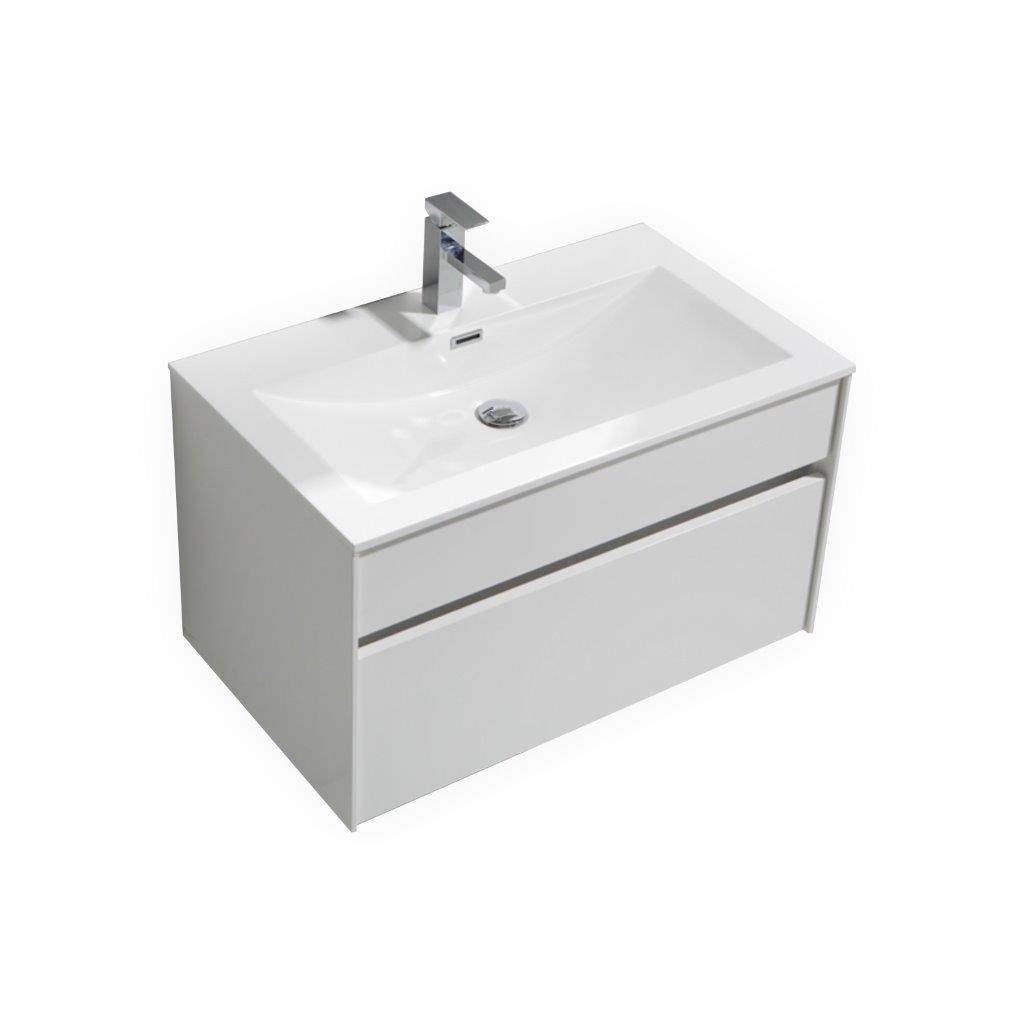Fitto 32 Quot High Gloss White Wall Mount Modern Bathroom Vanity