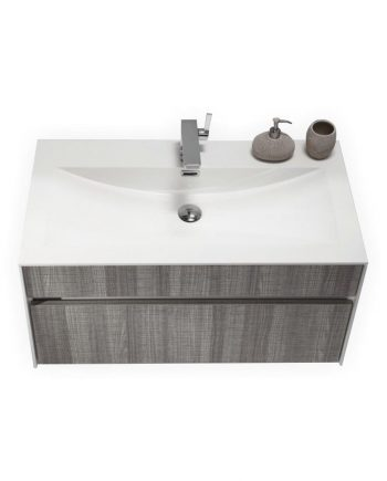 FITTO 36″ HASH GRAY WALL MOUNT MODERN BATHROOM VANITY