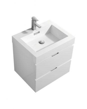 "BLISS 24"" HIGH GLOSS WHITE WALL MOUNT MODERN BATHROOM VANITY"
