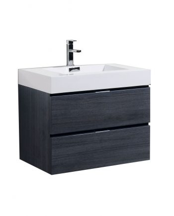 BLISS 30″ GRAY OAK WALL MOUNT MODERN BATHROOM VANITY