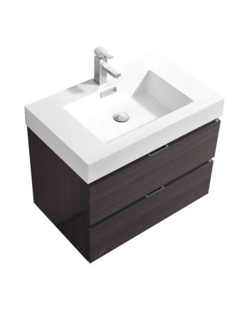 BLISS 30″ HIGH GLOSS GRAY OAK WALL MOUNT MODERN BATHROOM VANITY