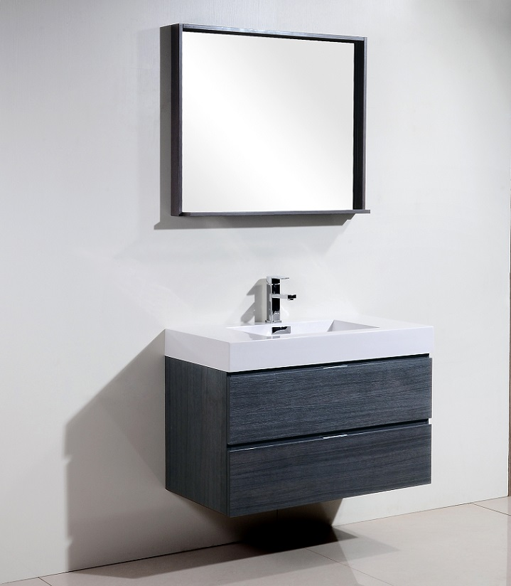 Bliss 36 Quot High Gloss Gray Oak Wall Mount Vanity
