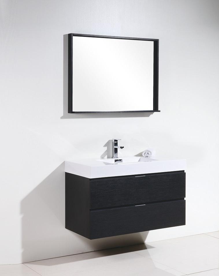 "bliss 40"" black wood wall mount vanity"