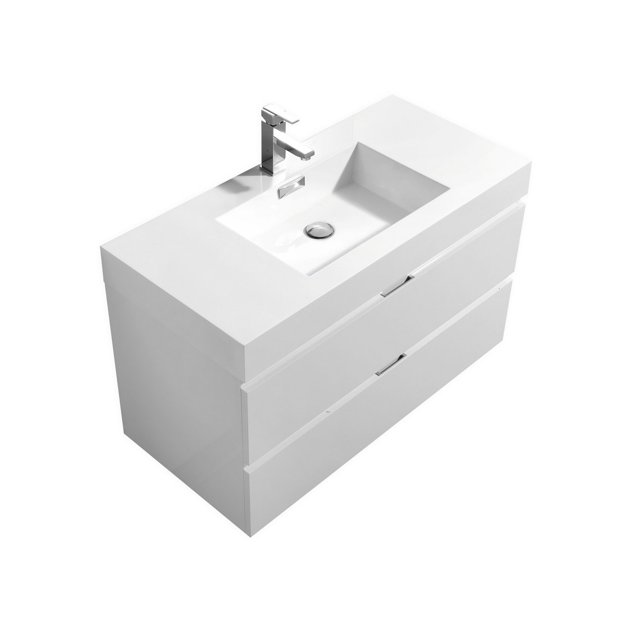 Bliss 40 Quot High Gloss White Wall Mount Modern Bathroom Vanity