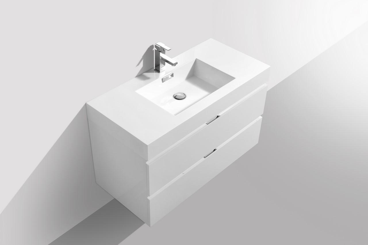 Bliss 40 Quot High Gloss White Wall Mount Modern Bathroom Vanity