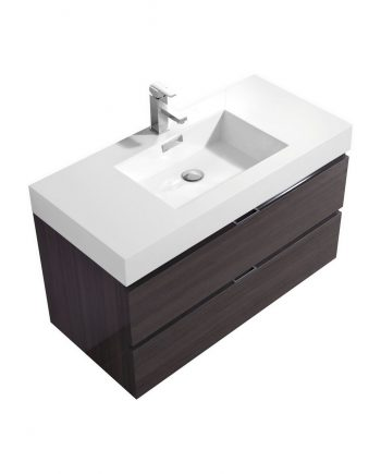 "Bliss 40"" High Gloss Gray Oak Wall Mount Modern Bathroom Vanity"