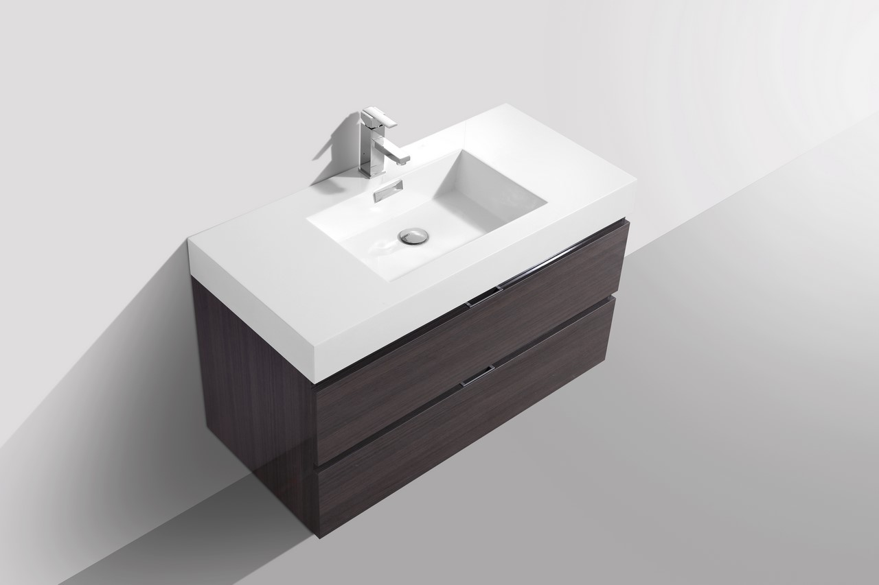 Bliss 40 high gloss gray oak wall mount modern bathroom - Wall mount bathroom vanity cabinets ...