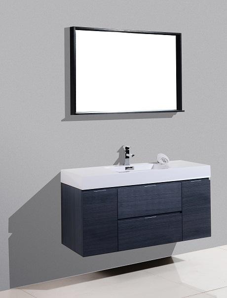 Bliss 48 Quot Gray Oak Wall Mount Single Sink Vanity