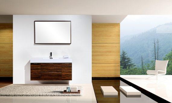 """BLISS 48"""" WALNUT WALL MOUNT SINGLE SINK MODERN BATHROOM VANITY"""