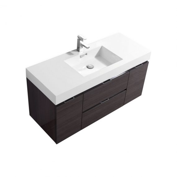 "Bliss 48"" High Gloss Gray Oak Wall Mount Single Sink Modern Bathroom Vanity"