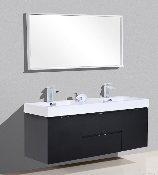 Bliss 60 Quot Black Wall Mount Double Sink Vanity