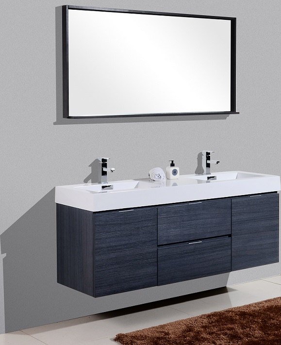 Bliss 60 Quot Gray Oak Wall Mount Double Sink Vanity