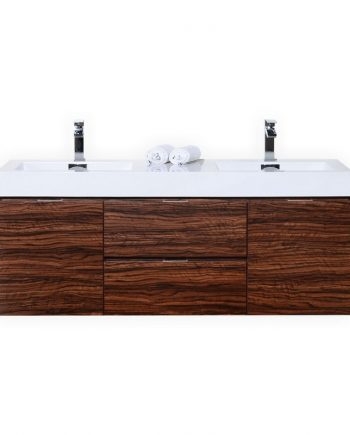 "BLISS 60"" WALNUT WALL MOUNT DOUBLE SINK MODERN BATHROOM VANITY"