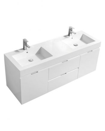 "Bliss 60"" High Gloss White Wall Mount Double Sink Modern Bathroom Vanity"