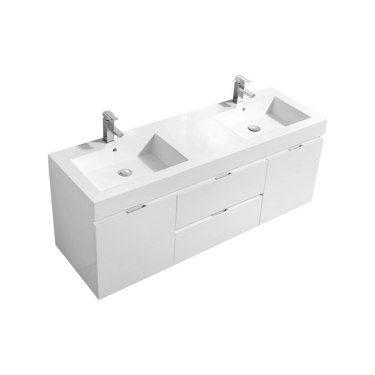 Bliss 60 Quot High Gloss White Wall Mount Double Sink Bathroom