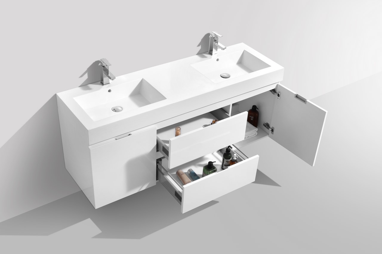 Bliss 60 Quot High Gloss White Wall Mount Double Sink Bathroom Vanity
