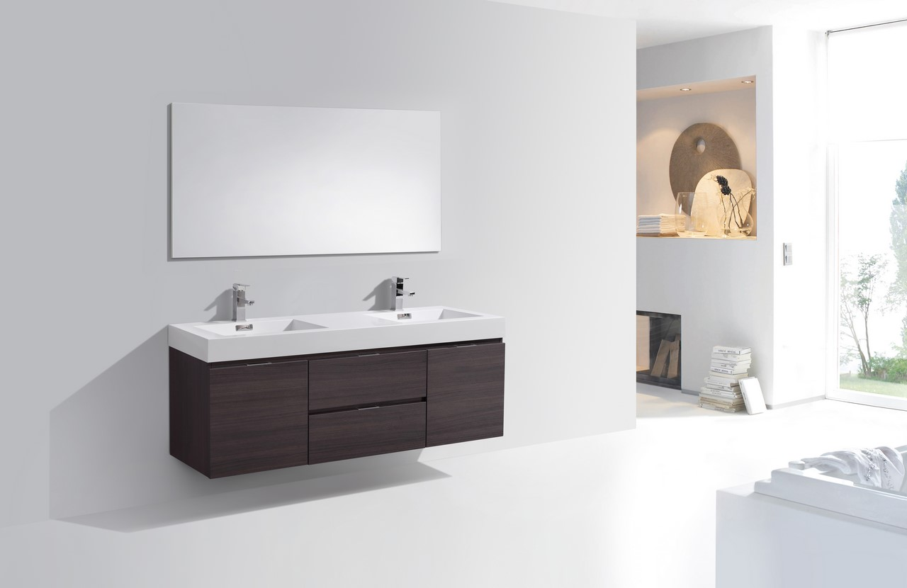 Bliss 60 Quot High Gloss Gray Oak Wall Mount Double Sink