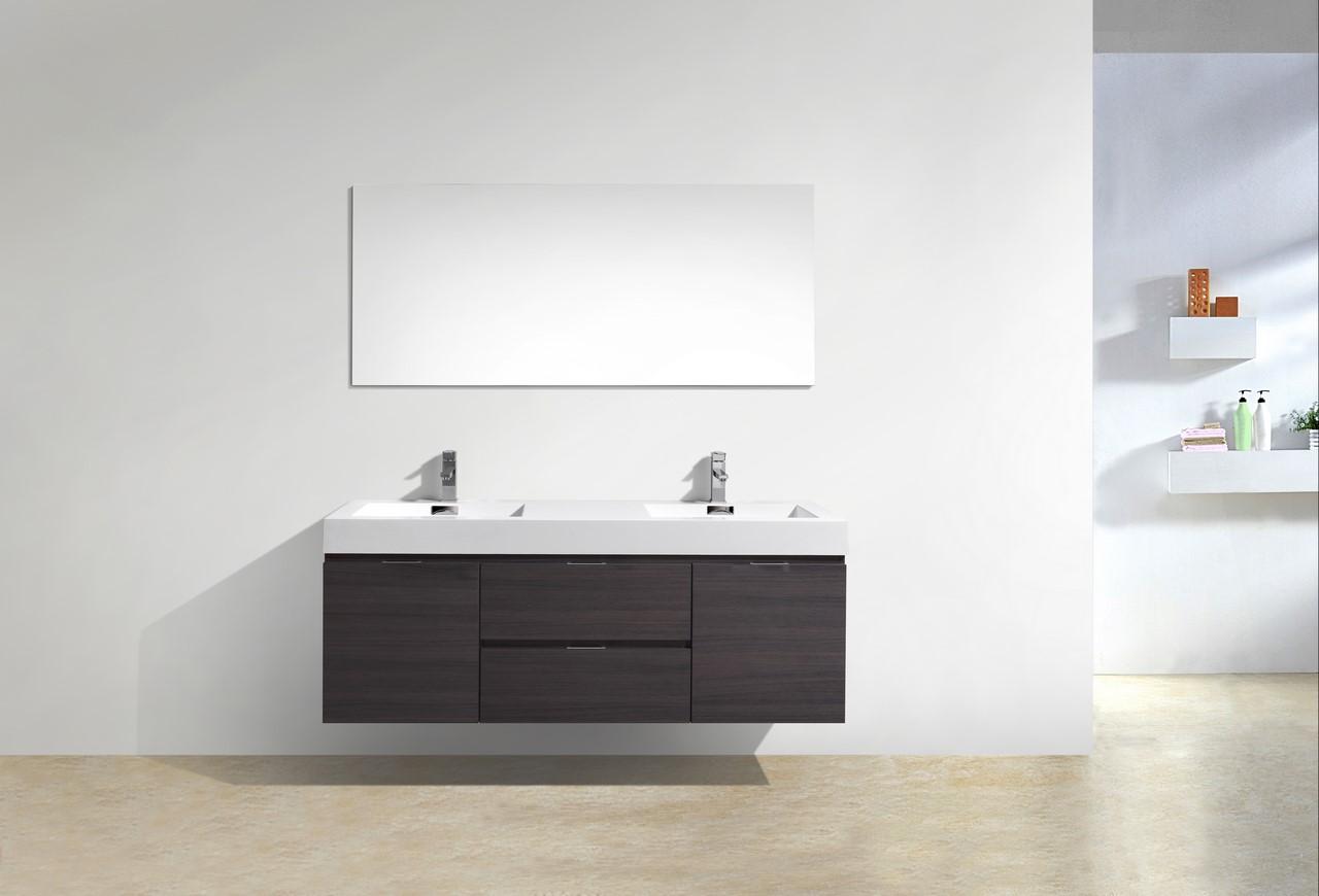 Bliss 60 Quot High Gloss Gray Oak Wall Mount Double Sink