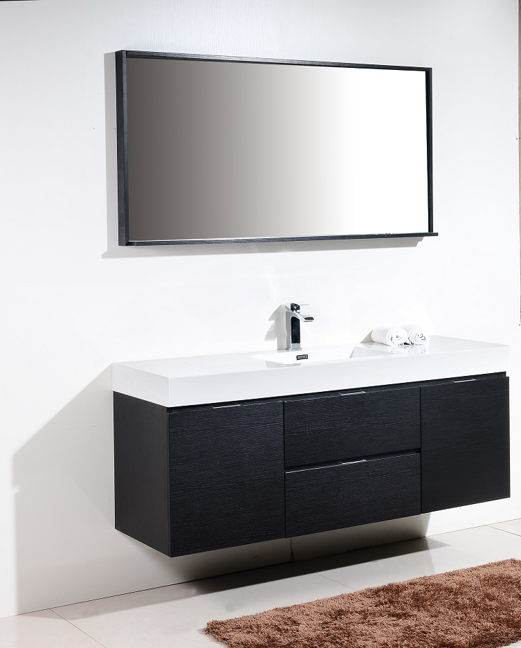 Bliss 60 Quot Black Wall Mount Single Sink Vanity
