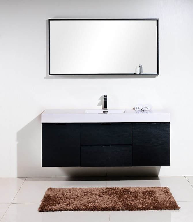 Bliss 60 Quot Black Wall Mount Single Sink Vanity