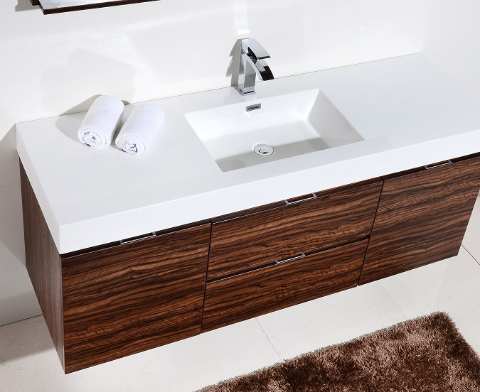 Bliss 60 Quot Walnut Wall Mount Single Sink Vanity