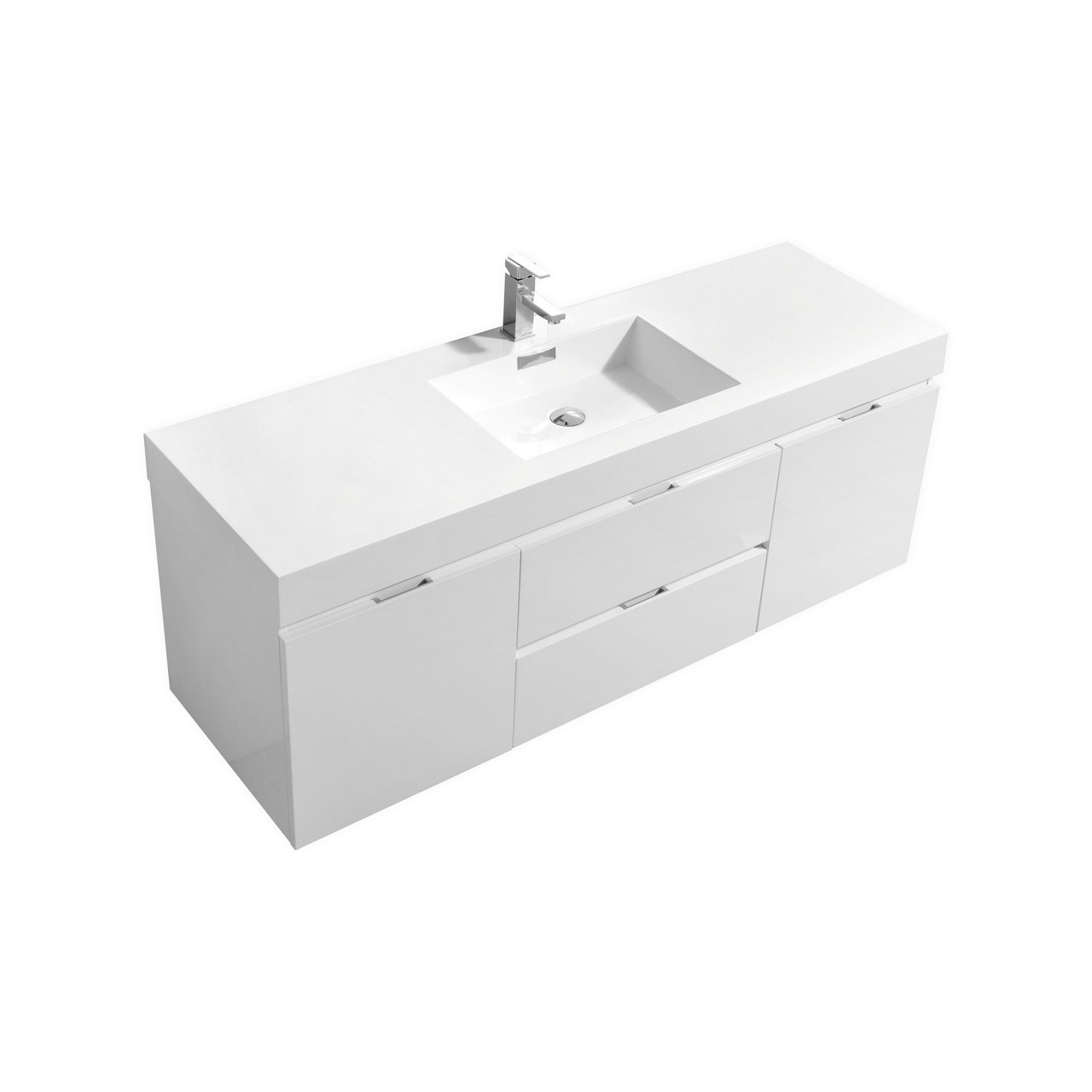 Bliss 60 Quot High Gloss White Wall Mount Single Sink Bathroom