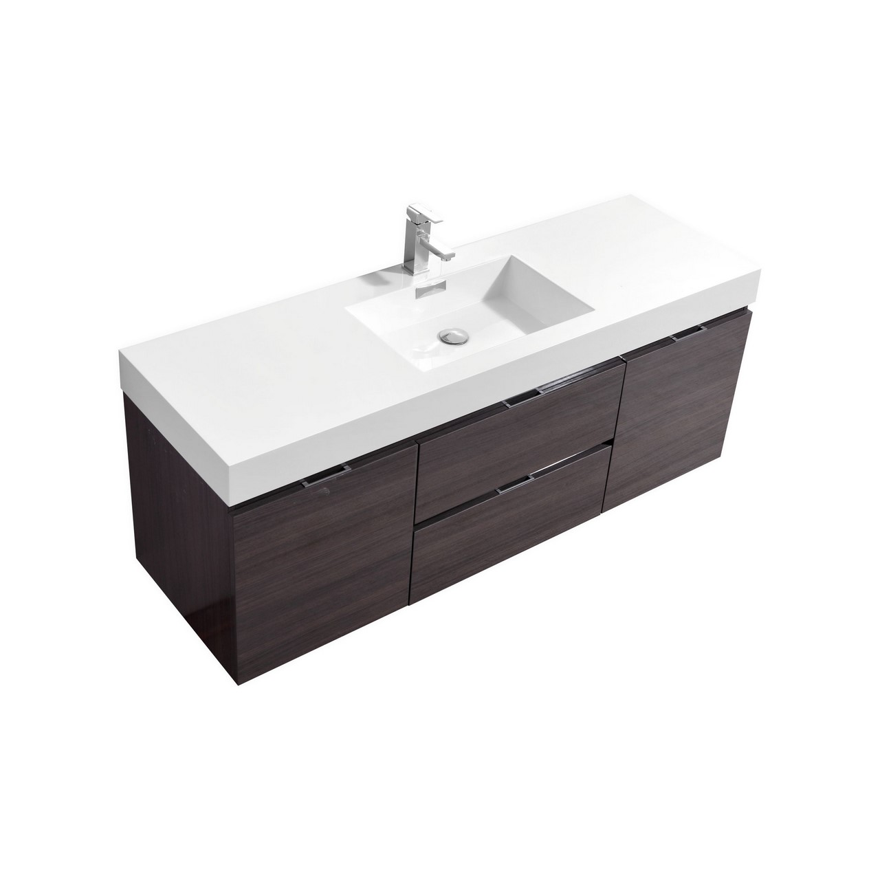 Bliss 60 Quot High Gloss Gray Oak Wall Mount Single Sink