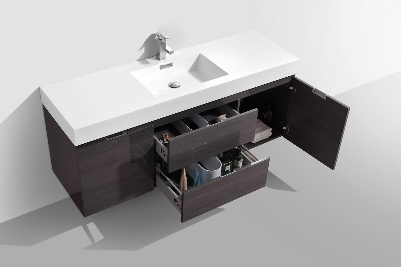 Bliss 60 Quot High Gloss Gray Oak Wall Mount Single Sink