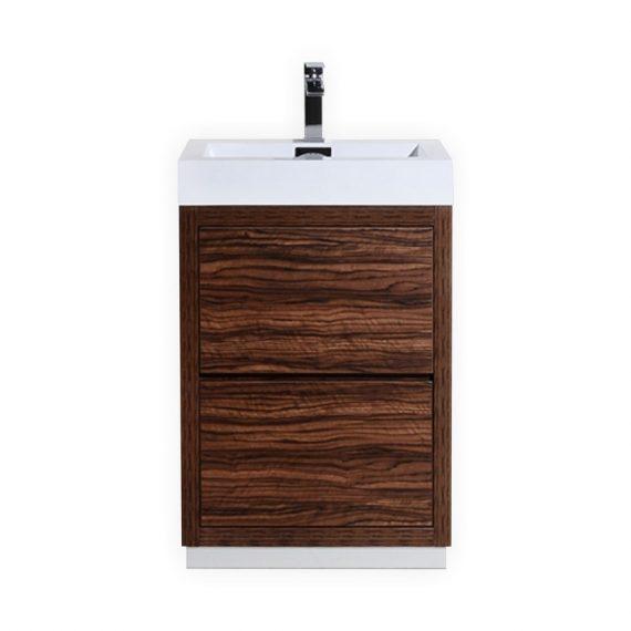 BLISS 24″ WALNUT FREE STANDING MODERN BATHROOM VANITY