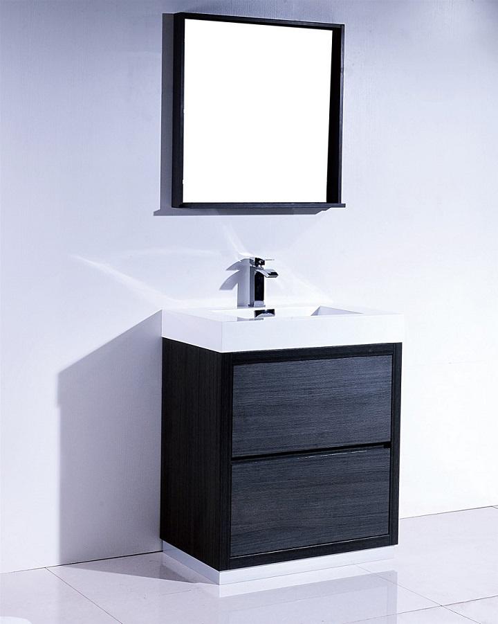 Bliss 30 Gray Oak Free Standing Modern Bathroom Vanity