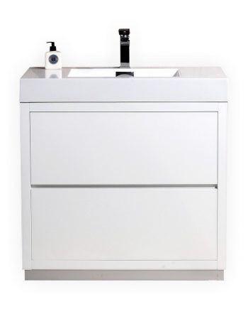 BLISS 30″ HIGH GLOSS WHITE FREE STANDING MODERN BATHROOM VANITY