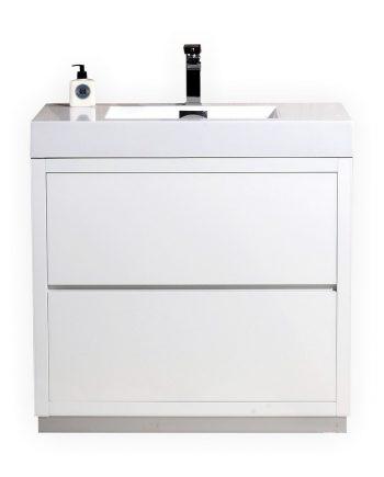 BLISS 30″ HIGH GLOSS WHITE FREE STANDING MODERN BATHROOM VANITY