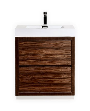 BLISS 30″ WALNUT FREE STANDING MODERN BATHROOM VANITY
