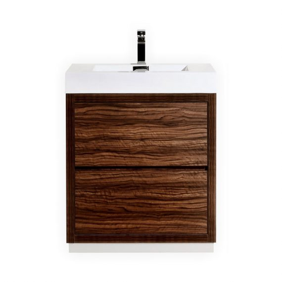 BLISS 30″ WALNUT FREE STANDING MODERN BATHROOM VANITY