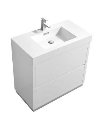 """Bliss 36"""" High Gloss White Free Standing Modern Bathroom Vanity"""