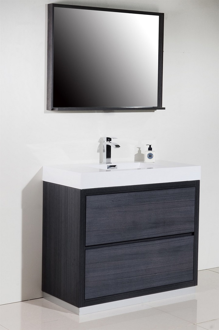 Bliss 40 Gray Oak Floor Mount Modern Bathroom Vanity